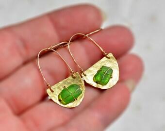 Sea Glass Earrings Hammered Brass Earrings with Gold Filled Ear Wires Crescent Earrings Long Green Beach Glass Earrings Free Shipping Israel