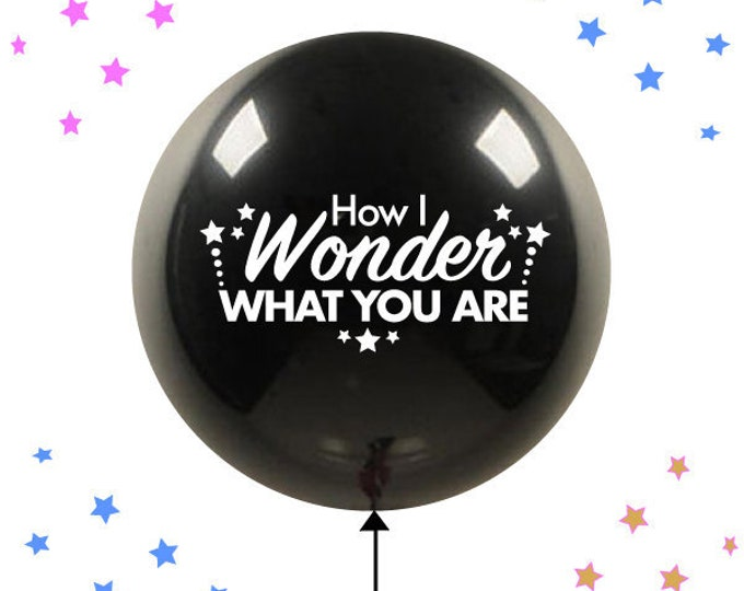 How I Wonder What You Are Balloon, Twinkle Twinkle Little Star Gender Reveal Balloon,  How I Wonder What You Are Gender Reveal Black