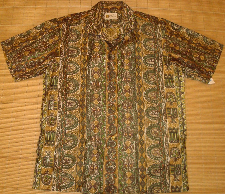 Mens vintage 60s hawaiian casuals tribal tiki hawaiian for The hawaiian shirt company