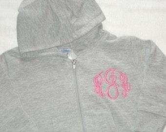 TODDLER Full Zip Hooded Sweatshirt Personalized Monogrammed Jacket