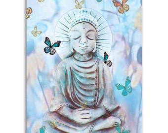 Butterflies Buddha , Note Cards - Set of four 5x7 note cards - painting and poem by Claire
