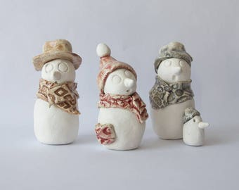 3 snowmen ceramic white matte and Brown, gray, red enamel