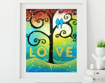 Two Birds Romantic Gift for Couples, Romantic Love Art, Love Birds Art Print Wedding Gift
