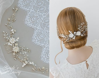 Wedding hair jewelry, vintage bridal hair comb with zirconia, bridal hair accessories