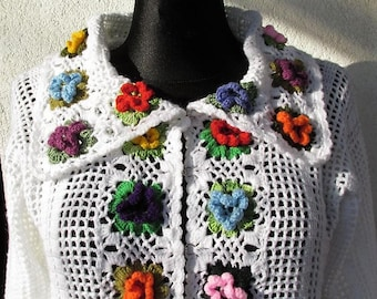 Floral sweater Crochet sweater Spring sweater  Crochet cardigan Floral Bohemian sweater