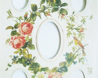 Fleuri Floral Photo Album Page Vintage victorien décoratif utilisé Mat Page famille Photographie Page d'Album oiseau fleurs cadre Mat