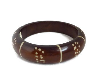 India Brown Bangle, Vintage Brown Cream Striped Dotted Bracelet, Gift for Her
