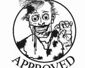 Zombie Approved Rubber Stamp Original Art 180
