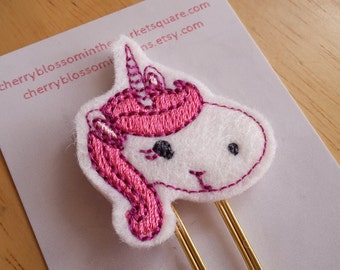 Unicorn Head Paper Clip in Pink