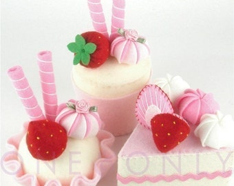 Felt Cake Dessert Set - 3 Princess Strawberry Tea Party Felt Cakes - READY TO SHIP