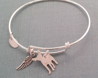Chihuahua Dog Adjustable Bangle Bracelet, 925 Sterling Silver Personalize Pendant Breed Silhouette Charm Rescue Shelter pet memorial jewelry