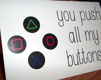 """Funny Anniversary Card, """"You Push All My Buttons"""", Gamer Anniversary Card,  Homemade Greeting Card"""