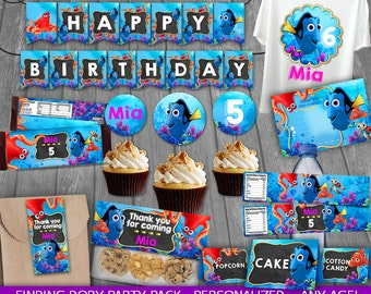 Finding Dory Party Package - PERSONALIZED - Dory Nemo Birthday Party - Party decoration - Dory cards tags wrappers signs labels toppers