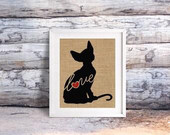Sphynx Love - A Burlap Print for Cat Lovers - Cat Memorial - Pet Loss Gift - Farmhouse Decor - Rustic Art - Personalized Wall Art - 101s