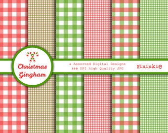 Christmas Digital Paper - Christmas Scrapbooking Paper, Red Gingham Digital Paper, Plaid Scrapbook Paper, Digital Download, Commercial Use