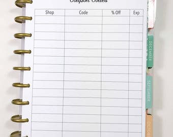Coupon Codes, Coupon Tracker, Coupon Log Inserts for Medium, Classic Happy Planner, Discbound Planner