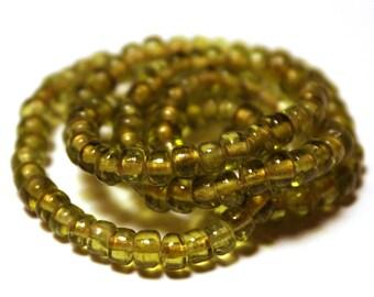 Green Glass Beads, Green Crow Beads, Glass Crow Beads, Crow Beads, Green Beads, Czech Glass Crow Beads, Peridot Glass Beads, Peridot Green