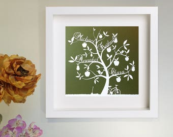 Personalised papercut family tree | mother's day gift | wedding present | olive green | custom print