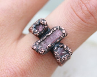 Raw Rough Pink Tourmaline Crystal Earthy Organic Electroformed Triple Stone Ring in Copper UK P 1/2 US 7 3/4