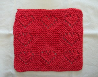 Hand Knit Cotton Dishcloth or Washcloth - color is Red - measures approximately 8x81/2 inches