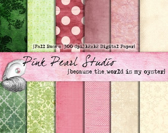 Shabby Fall Rose Digital Paper Pack 12x12 purple pink green cream...Scrapbooking, Crafts and Cardmaking