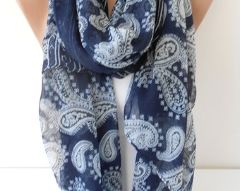 CHRISTMAS Gift For Her Paisley Scarf Shawl Cotton Voile Scarf Navy Blue Scarf Cowl Scarf Oversize Scarf Gift For Mom Holiday clothing gift