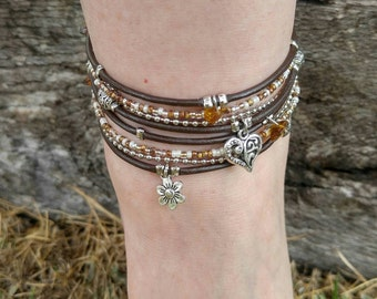 Double Wrap Anklet - Boho Ankle Bracelet - Wrap Ankle Bracelet - Beaded Ankle Bracelet - Best Selling Item - Choose FOUR Charms-Customizable