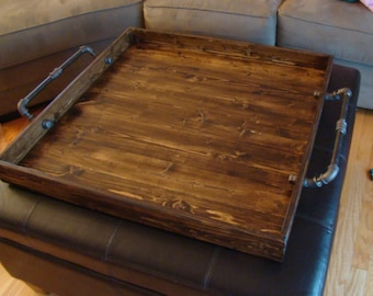 Industrial Style Ottoman Tray, Rustic Ottoman Tray,  Wooden Tray, Serving Tray, Coffee Table Tray, Rustic , Rustic Serving