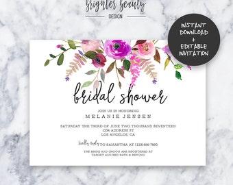 Pink Floral Bridal Shower Invitation   INSTANT DOWNLOAD   Editable PDF  Do It Yourself   Printable