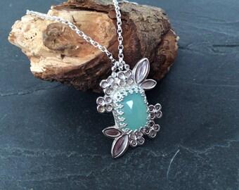 Sale Sterling silver handmade aqua chalcedony necklace, hallmarked in Edinburgh