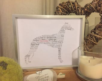 Whippet Print Keepsake Dog Typography Word Cloud  Personalised