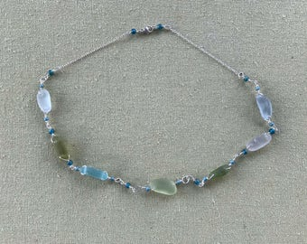 """17.5"""" Sterling Silver Sea Glass Necklace With Muted Soft Seaglass Pastels & Czech Glass Teal Beads - Pale Grey, Blue, Green, And White Tones"""
