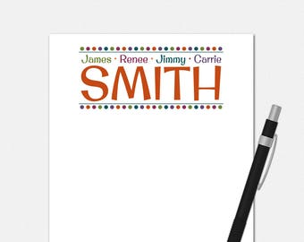 Personalized Notepads - Family Notepad - Custom Family Gifts - Family Billboard Stationery Notepads - Custom Notepad