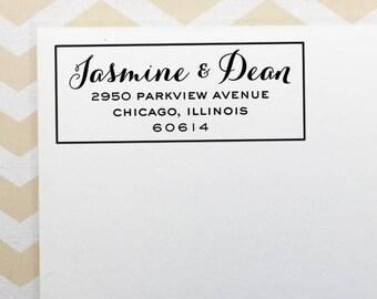 Personalized Return Address Stamp, Calligraphy Wedding Address Stamp, Self Inking Stamp, Rubber Stamp, Custom Address Stamp, Engagement Gift