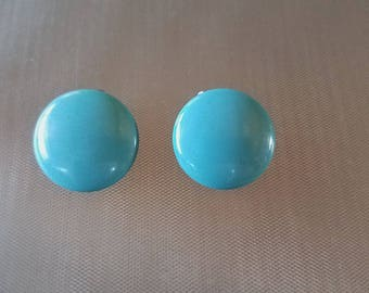 Vintage Robin Egg Blue Plastic Button Earrings Clip On Earrings Pair Set