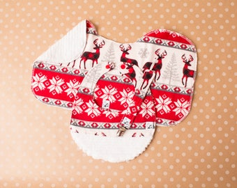 Winter Holiday Snowflakes Reindeer deer Baby gift set Newborn Bib Burp Cloth Paciclip Gender neutral Little Tommys Flannel Chenille Kamsnaps