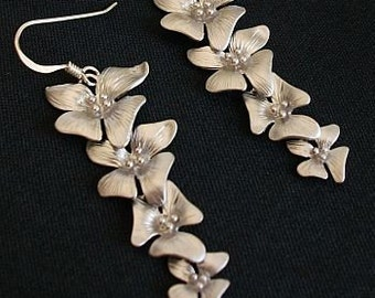 Orchid Earrings - Cascading Silver Orchids Free Shipping