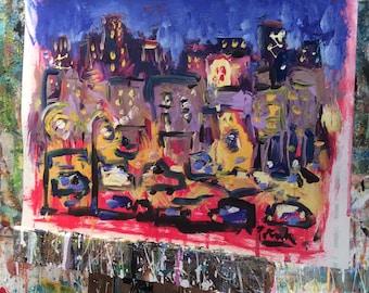 Urban painting, city scene, impressionist art, original painting, Russ Potak Artist, Free shipping