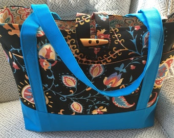 Black and blue canvas tote, Black Tote bag, Blue tote, Gift for Women, Mother's Day Gift, Teacher Gift, Birthday Gift, Lined tote