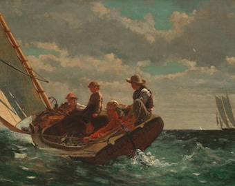 Winslow Homer : Breezing Up (1876) Canvas Gallery Wrapped Wall Art Print