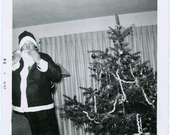 vintage photo 1956 abstract Big Santa Holds Baby Christmas Square Snapshot Doll toys