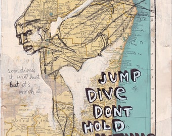 Jump Dive, mixed media drawing by Contemporary Figuration artist Juliana Coles