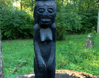 Tribal Primitive Hand Carved Wood Sculpture, Black Female Figure, New Guinea