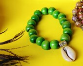 Glossy Green Wood beaded ...