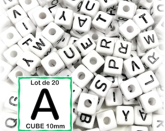 """20 pearls """"A"""" alphabet 10 mm - 10mm cube letter beads"""