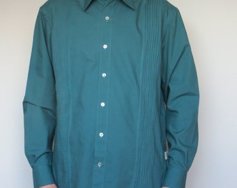 shirt in teal cotton percale