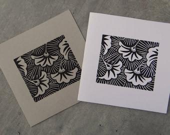 "Greeting card / double ""Art nouveau"" card - original linocut print / Art nouveau / Christmas / birthday / flowers"