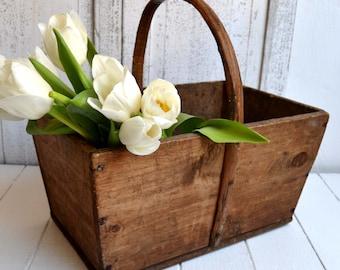 Antique Wooden Basket French Rustic Garden Trug