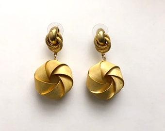 Vintage 80's earrings, 80's Jewelry, Costume jewellery, Gold statement earrings