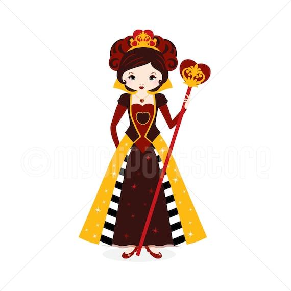 clipart red queen queen of hearts digital clip art rh etsy com queen clip art free queen clipart images